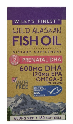 Wiley's Finest  Wild Alaskan Fish Oil Prenatal DHA Perspective: front