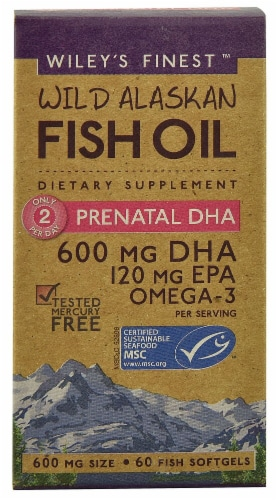 Wiley's Finest  Wild Alaskan Fish Oil Prenatal DHA Perspective: front