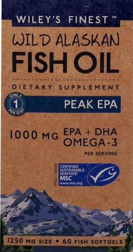 Wiley's Finest Wild Alaskan Fish Oil Peak EPA Fish Softgels 1250mg Perspective: front