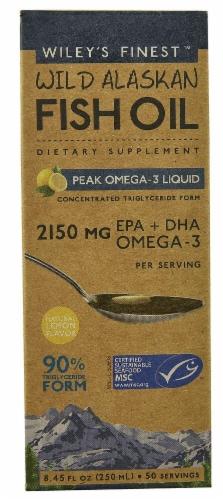 Wiley's Finest  Wild Alaskan Fish Oil Peak Omega-3 Liquid   Natural Lemon Perspective: front