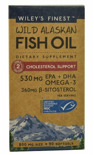 Wiley's Finest  Wild Alaskan Fish Oil Cholesterol Support Perspective: front