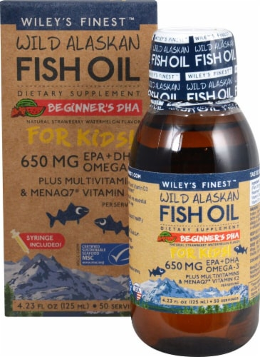 Wiley's Finest Natural Strawberry Watermelon Flavored Wild Alaskan Fish Oil for Kids Perspective: front