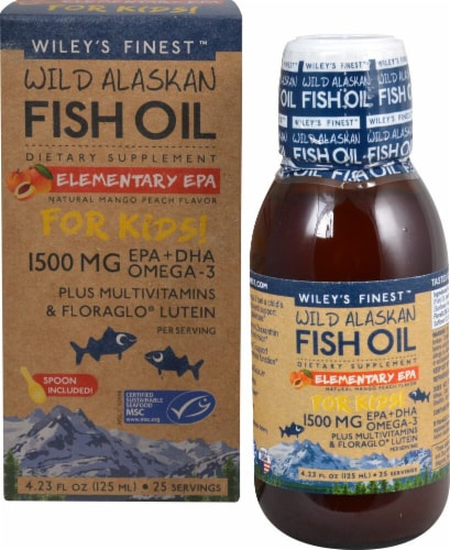 Wiley's Finest  Wild Alaskan Fish Oil Elemtary EPA For Kids! Plus Multivitamin   Natural Mango Peach Perspective: front