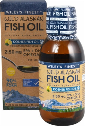 Wiley's Finest  Wild Alaskan Fish Oil Peak Omega-3 Liquid   Natural Lemon Perspective: front
