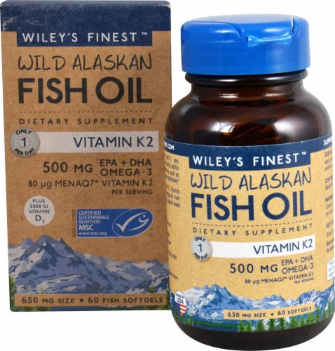 Wiley's Finest  Wild Alaskan Fish Oil Vitamin K2 Perspective: front