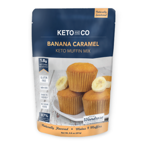 Keto and Co Banana Caramel Muffin Mix Perspective: front