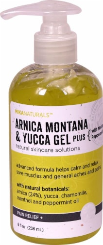 Mikanaturals Arnica Montana & Yucca Gel Plus Pain Relief Solution Perspective: front