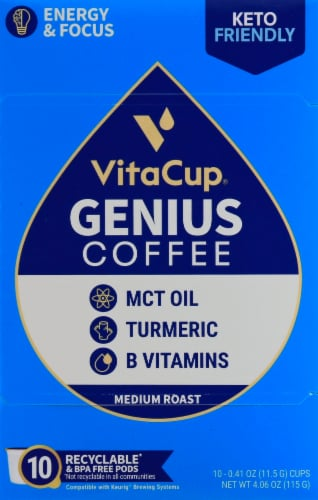 VitaCup Genius Blend Vitamin Infused Coffee Pods Perspective: front