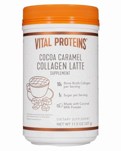 Vital Proteins Cocoa Caramel Collagen Latte Supplement Perspective: front
