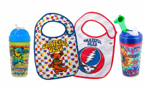 Grateful Dead Official license, BPA Free, Sippy & Straw Cup & 2 Bib Feeder Pack by Daphyl's Perspective: front