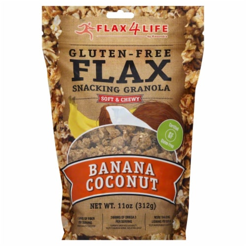 Flax 4 Life Banana Coconut Snacking Granola Perspective: front