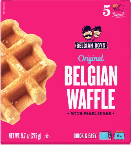 Belgian Boys Original With Pearl Sugar Belgian Waffle 5 Count Perspective: front