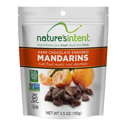 Nature's Intent Dark Chocolate Enrobed Mandarins Perspective: front
