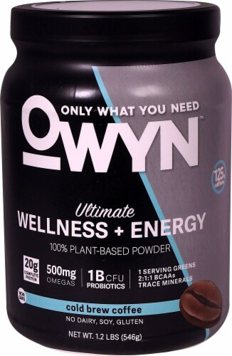 OWYN Cold Brew Coffee Ultimate Wellness & Energy Plant Based Powder Perspective: front