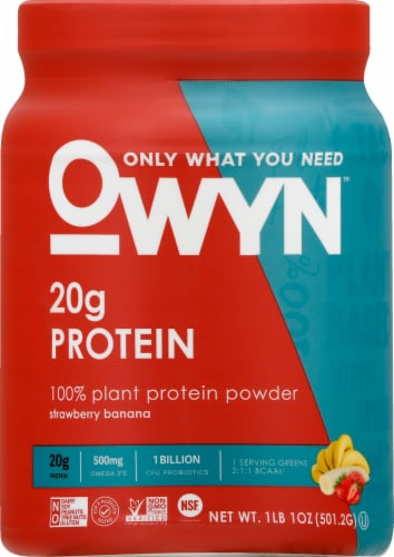 OWYN Strawberry Banana Flavored Plant-Based Protein Powder Perspective: front