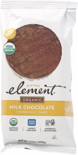 Element Organic Milk Chocolate Dipped Rice Cakes Perspective: front