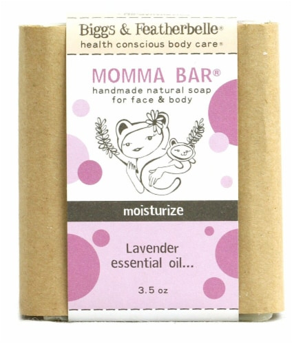 Biggs & Featherbelle Momma Bar® Handmade Natural Soap for Face and Body - Lavender Perspective: front