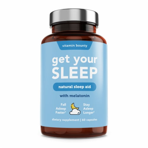 Vitamin Bounty Get Your Sleep Natural Sleep Aid Melatonin Supplement Perspective: front