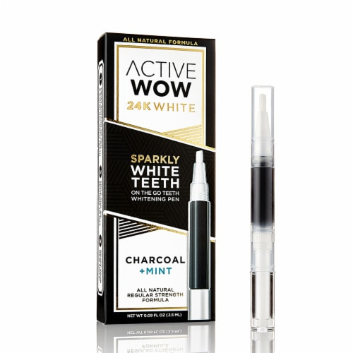 Active Wow 24K White Charcoal Mint Teeth Whitening Pen Perspective: front