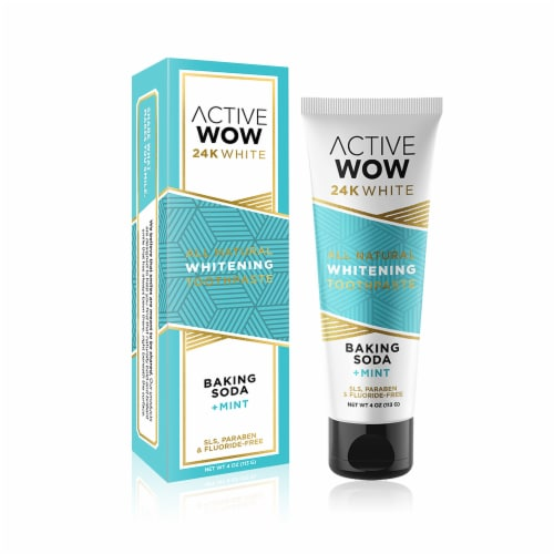 Active Wow 24K All Natural Baking Soda and Mint Whitening Toothpaste Perspective: front