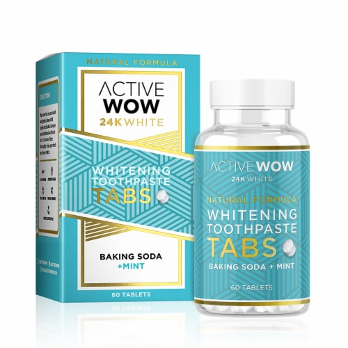 Active Wow 24K White Natural Whitening Toothpaste Tablets Perspective: front