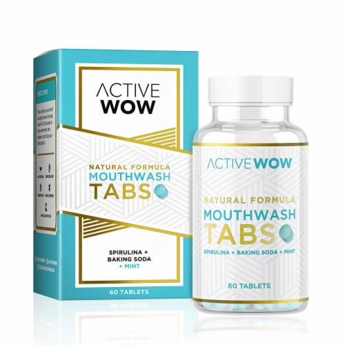 Active Wow Natural Mouthwash Tablets Perspective: front