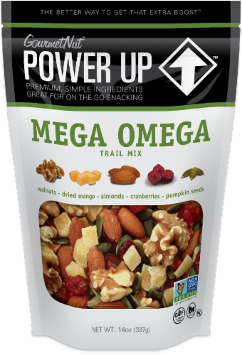 Gourmet Nut Power Up Mega Omega Trail Mix Perspective: front