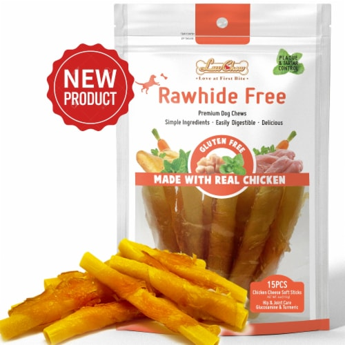 LuvChew Rawhide Free Chicken Cheese Soft Dog Chew Sticks with Glucosamine & Turmeric Perspective: front