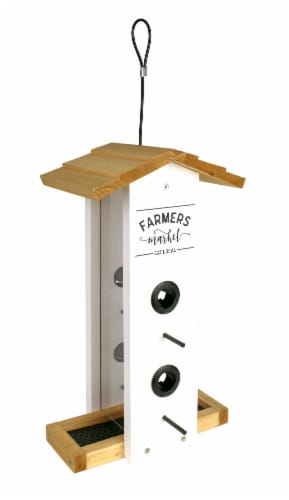 Wild Wings Farmhouse Cedar Vertical Hopper Bird Feeder Perspective: front