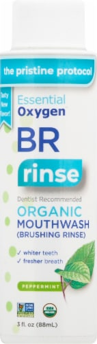 Essential Oxygen Organic Peppermint Brushing Rinse Perspective: front