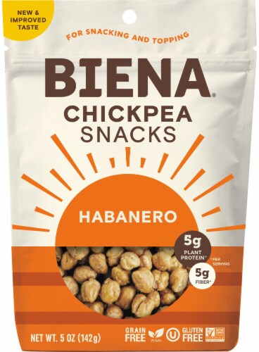 Biena Chickpea Snacks Habanero Medium Spicy Perspective: front