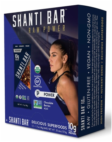 Shanti Bar  Organic 10 G Protein Bar Gluten Free   Chocolate Berries Acai Perspective: front