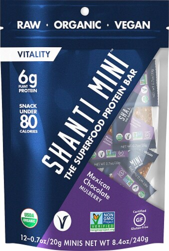 Shanti Bar Mini Mexican Chocolate Mulberry Superfood Protein Bar Perspective: front