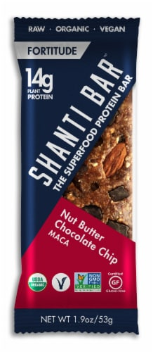Shanti Bar Nut Butter Chocolate Chip MACA Protein Bar Perspective: front