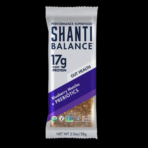 Shanti Balance Blueberry Matcha + Prebiotics Protein Bar Perspective: front