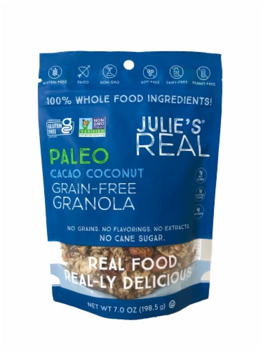 Julie's Real Cacao Coconut Grain Free Granola Perspective: front