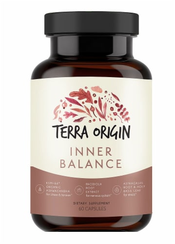 Terra Origin Inner Balance Stress and Anxiety Capsules Perspective: front