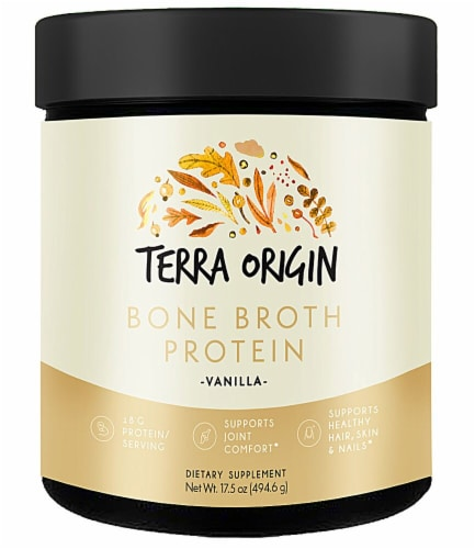 Terra Origin Vanilla Bone Broth Protein Powder Perspective: front