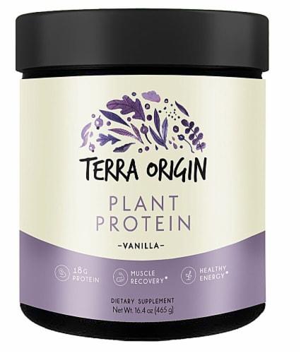 Terra Origin Vanilla Plant Protein Powder Perspective: front