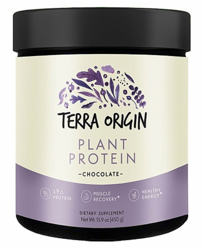 Terra Origin Chocolate Plant Protein Powder Perspective: front