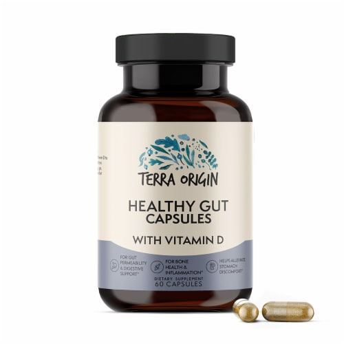 Terra Origin Healthy Gut Capsules with Vitamin D Perspective: front
