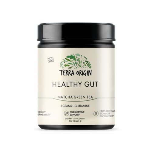 Terra Origin Healthy Gut Matcha Green Tea Powder Perspective: front