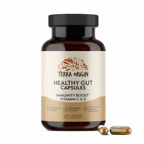 Terra Origin Healthy Gut with Immunity Boost Capsules Perspective: front