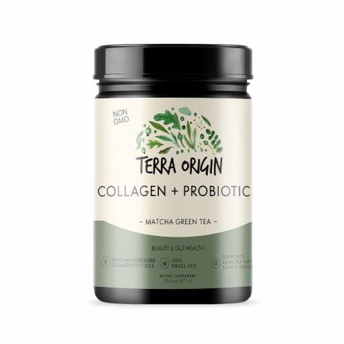 Terra Origin Collagen with Probiotics Matcha Green Tea Powder Perspective: front