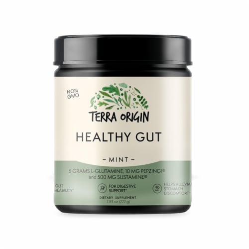 Terra Origin Healthy Gut Mint Powder Perspective: front