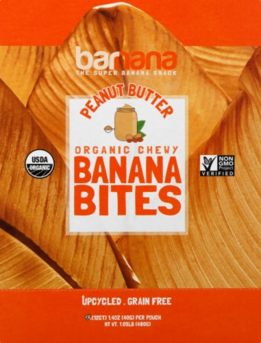 Barnana Organic Gluten Free Chewy Peanut Butter Banana Bites 12 Count Perspective: front