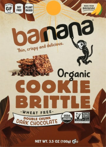 Barnana Organic Double Chunk Dark Chocolate Banana Cookie Brittle Snack Perspective: front