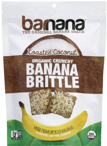 Barnana Organic Crunchy The Original Toasted Coconut Banana Brittle Snack Perspective: front