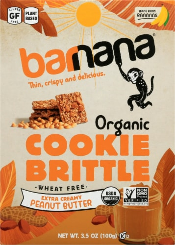 Barnana Organic Crunchy Extra Creamy Peanut Butter Banana Cookie Brittle Snack Perspective: front