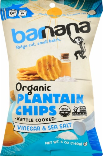 Barnana Organic Ridged Sea Salt & Vinegar Plantain Chips Perspective: front